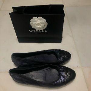 CHANEL Navy Ballerina Flats